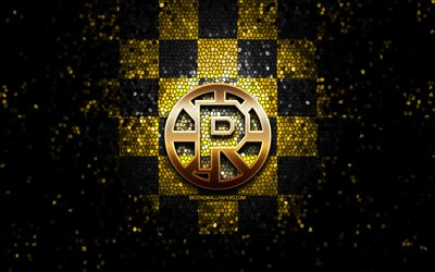 Providence Bruins, glitter logo, AHL, yellow black checkered background, USA, american hockey team, Providence Bruins logo, mosaic art, hockey, America
