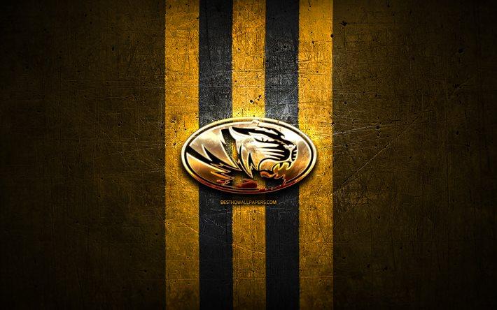Download Wallpapers Missouri Tigers Golden Logo Ncaa Yellow Metal Background American Football Club Missouri Tigers Logo American Football Usa For Desktop Free Pictures For Desktop Free