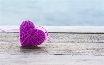 purple knitted heart, heart of thread, purple heart, romantic background, love background, creative love background
