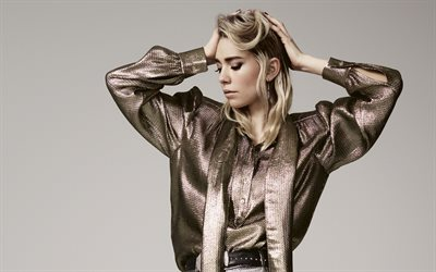 Vanessa Kirby, English actress, portrait, photoshoot, gold costume, beautiful woman, popular actress