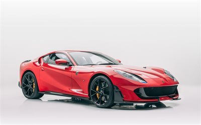 Ferrari 812 Superfast, 2020, Mansory, front view, red sports coupe, tuning, new red 812 Superfast, black wheels, Italian sports cars, Ferrari