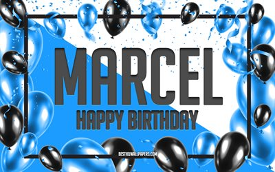 Happy Birthday Marcel, Birthday Balloons Background, Marcel, wallpapers with names, Marcel Happy Birthday, Blue Balloons Birthday Background, greeting card, Marcel Birthday
