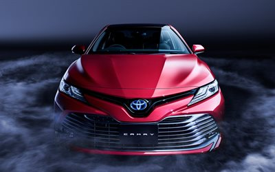 4K, Toyota Camry Hybrid, 2018 cars, luxury cars, red camry, Toyota