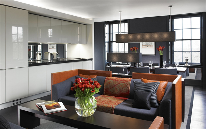 stylish luxurious interior dining room, modern interior design, living room, gray white style