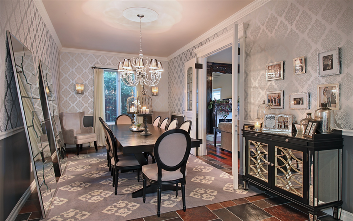 modern stylish interior design dining room, classic style, luxurious interior, dining room, large mirrors, gray large dining table