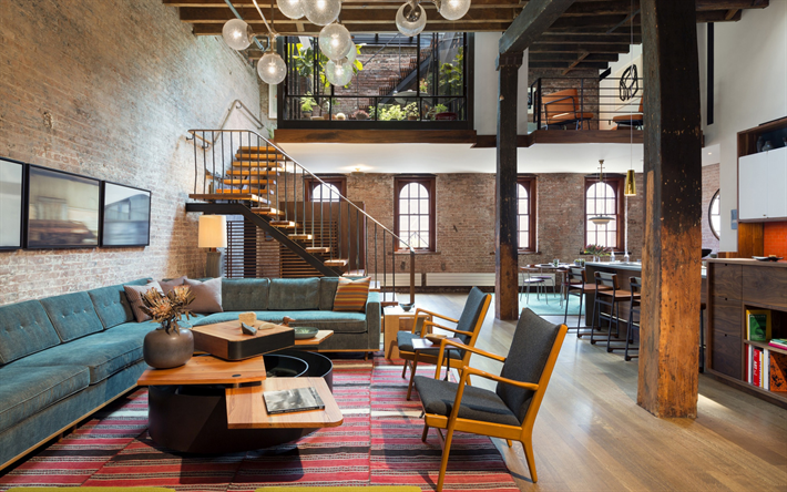Download Wallpapers Stylish Apartments Modern Interior Design Loft