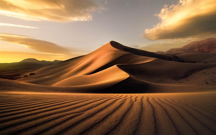 Sahara Desert Sand Dunes Mountains Sunset Africa
