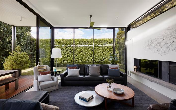 Stilvolles Interieur Wohnzimmer, Land Haus  , Glas Wände, Moderne Interieur