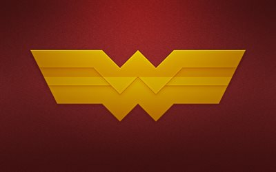 Wonder Woman, superheroes, logo, minimal, red background