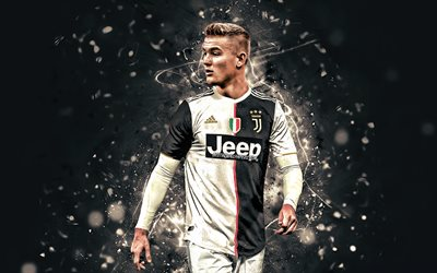 Matthijs de Ligt, 2019, Juventus FC, new uniform, Dutch footballers, soccer, Serie A, Italy, De Ligt, neon lights, football, Juve, Bianconeri