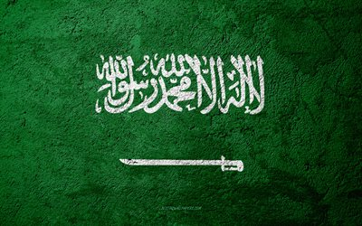 Flag of Saudi Arabia, concrete texture, stone background, Saudi Arabia flag, Asia, Saudi Arabia, flags on stone