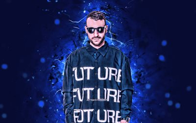 Don Diablo, 4k, Dutch DJs, blue neon lights, Don Pepijn Schipper, Don Diablo 4K, fan art, artwork, superstars, creative, DJs