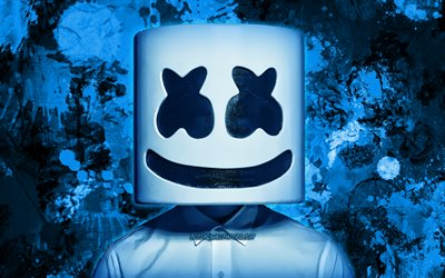 DJ Marshmello, blue paint splashes, american DJ, superstars, Christopher Comstock, fan art, music stars, Marshmello, blue grunge background, DJs