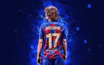 4k, Antoine Griezmann, back view, 2019, Barcelona FC, french footballers, LaLiga, Barca, Griezmann, football, forward, neon lights, soccer, FCB, Griezmann Barcelona, La Liga, Spain