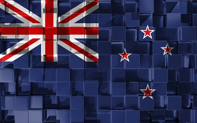 Flag of New Zealand, 3d flag, 3d cubes texture, Flags of Oceania countries, 3d art, New Zealand, Oceania, 3d texture, New Zealand flag