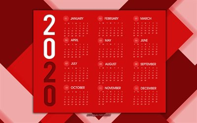 2020 calendar, red abstract background, 2020 red calendar, 2020 concepts, red creative background, calendar 2020 all months