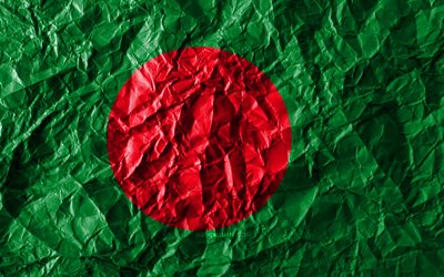 Bangladesh flag, 4k, crumpled paper, Asian countries, creative, Flag of Bangladesh, national symbols, Asia, Bangladesh 3D flag, Bangladesh