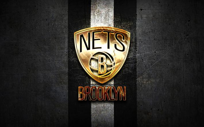 Download Wallpapers Brooklyn Nets Golden Logo Nba Black