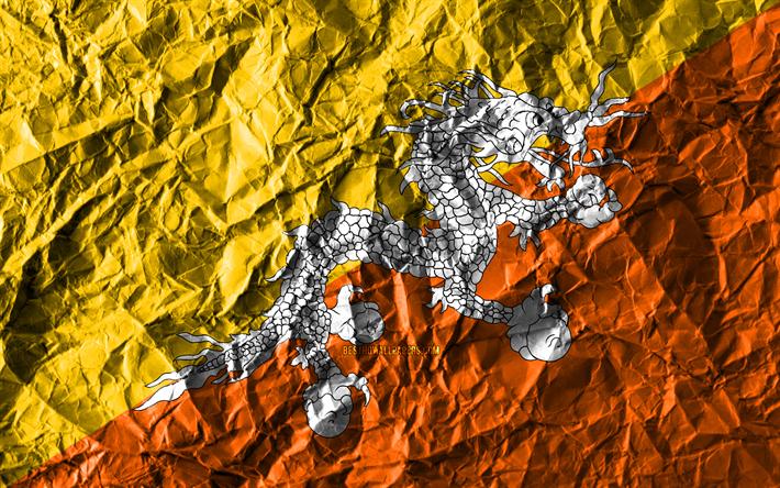Download wallpapers Bhutan flag, 4k, crumpled paper, Asian
