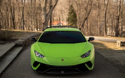 Lamborghini Huracan, 2019, front view, green supercar, new green Huracan, italian sports cars, Lamborghini