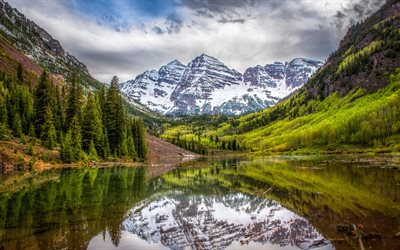 Maroon Bells, 4k, beautiful nature, mountains, lake, Colorado, USA, America