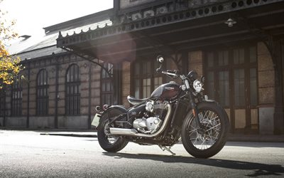 Triumph Bonneville, 2019, cool motorcycle, new black Bonneville T120, Triumph