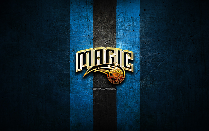Download Wallpapers Orlando Magic Golden Logo Nba Blue