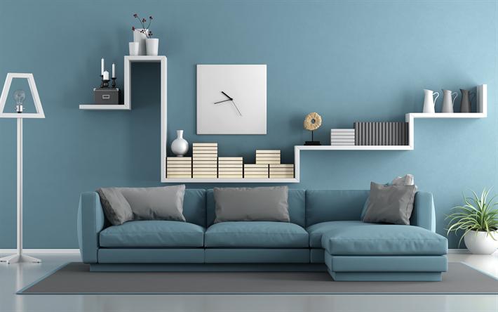 Wallpapers Blue Living Room, Blue Living Room