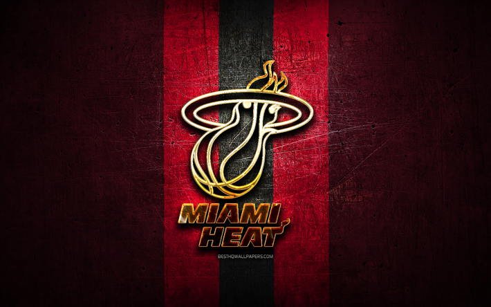 Download Wallpapers Miami Heat Golden Logo Nba Purple Metal Background American Basketball Club Miami Heat Logo Basketball Usa For Desktop Free Pictures For Desktop Free