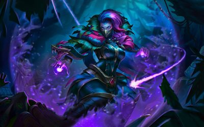 Templar Assassin, battle, Dota 2, female characters, warriors, darkness, Dota2, Templar Assassin Dota