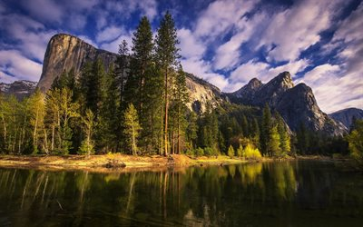 Yosemite National Park, evening, mountains, river, California, beautiful nature, USA, America