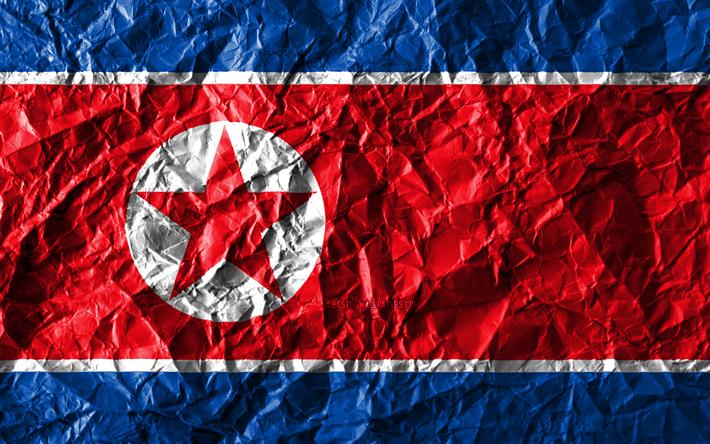 Download Wallpapers North Korean Flag 4k Crumpled Paper Asian