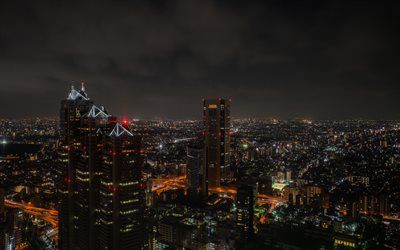 Tokyo, nightscapes, japanese cities, modern buildings, Japan, Asia, Tokyo at night