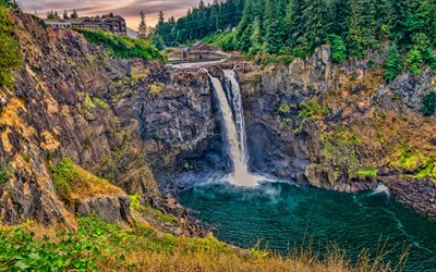 Snoqualmie Falls, 4k, rocks, beautiful nature, Washington, USA, America, HDR, Snoqualmie River
