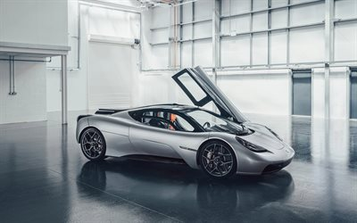 Gordon Murray T50, 2022, front view, exterior, hypercar, new silver T50, British supercars, Gordon Murray
