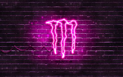 Monster Energy viola logo, 4k, viola brickwall, Monster Energy logo, bevande marche, Monster Energy neon logo Monster Energy