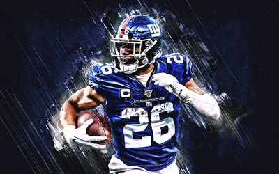 Saquon Barkley, NFL, New York Giants, le football américain, le portrait, la pierre bleue d'arrière-plan, la Ligue Nationale de Football