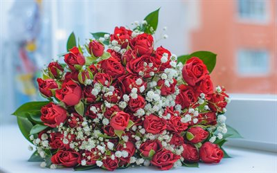 red roses, wedding bouquet, rose bouquet, beautiful flowers, beautiful bouquet, roses, bridal bouquet