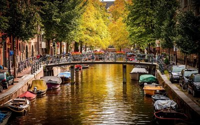 Amsterdam, canal, Netherlands, bridge, bicycles