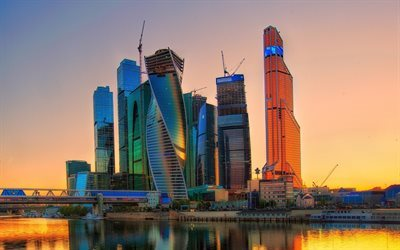 Moscow-City, sunset, skyscrapers, panorama, Russia