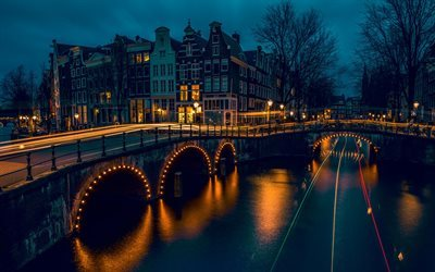 Amsterdam, traffic lights, night, bridge, Holland, Netherlands
