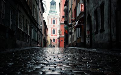 city streets, paving stones, Poznan, Poland