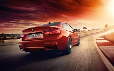 BMW M4, 2018, rear view, red BMW, new M4, track racing, speed