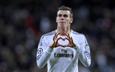 Gareth Bale, 4k, football stars, Real Madrid, heart hand, footballer