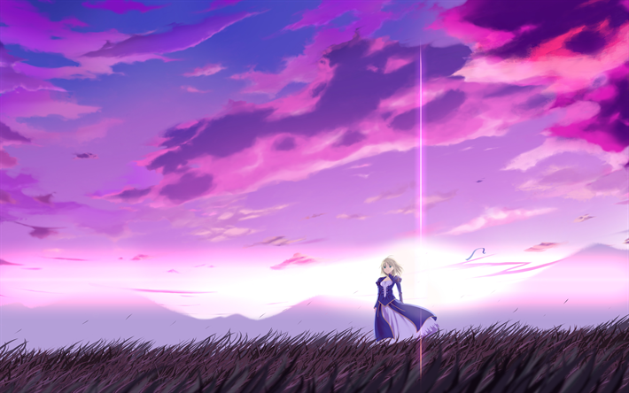 Télécharger fonds d'écran 4k, Saber, manga, paysages de nuit, Fate Stay night, TYPE-MOON pour le ...