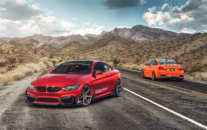 BMW M4, 2017, Red Sports Coupe, Tuning M4, German Sports Cars,