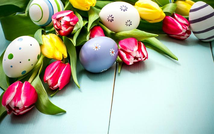 Ostern Hintergrundbilder Kostenlos herunterladen hintergrundbild frohe ostern eier rosa tulpen