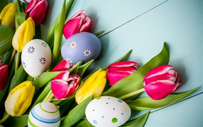 Easter, tulips, spring flowers, painted eggs, blue boards, easter decoration