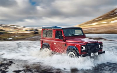 Land Rover Defender, river, 2018 cars, offroad, SUVs, new Defender, Land Rover