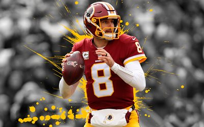 Kirk Cousins, 4k, american football, grunge, NFL, Washington Redskins, art, quarterback